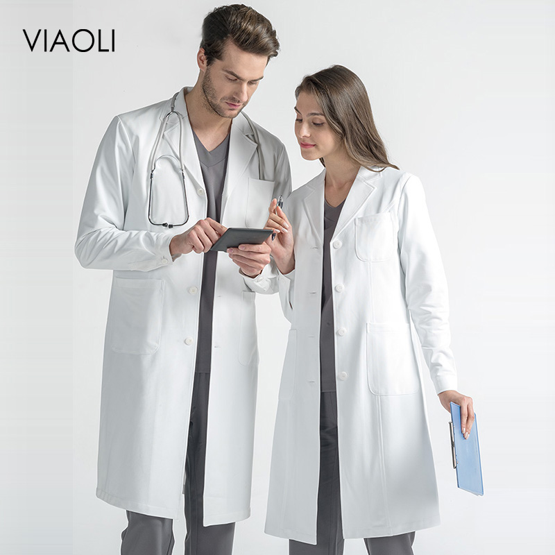 High Quality Medical White Coat Short Sleeve Women Medical Coat Uniform Medical Lab Coat Hospital Doctor Slim Medical Uniforms