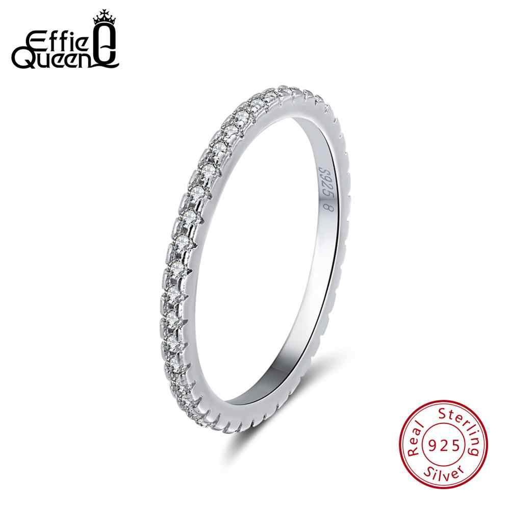 Effie Nữ Hoàng Nữ Bạc 925 Nữ Cổ Điển Ngón Tay Nhẫn Cubic Zircon Nữ Cưới Đính Hôn Vĩnh Cửu Nhẫn Trang Sức TSR63