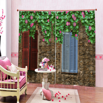 3D Window Curtain Stone wall window plant Luxury Blackout Living Room office Bedroom Customized size