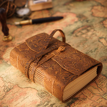 Thick Genuine Leather Journal Book 400P 165mm*115mm*40mm Blank Paper Sketchbook Hand Made Band Notebook Free Shipping
