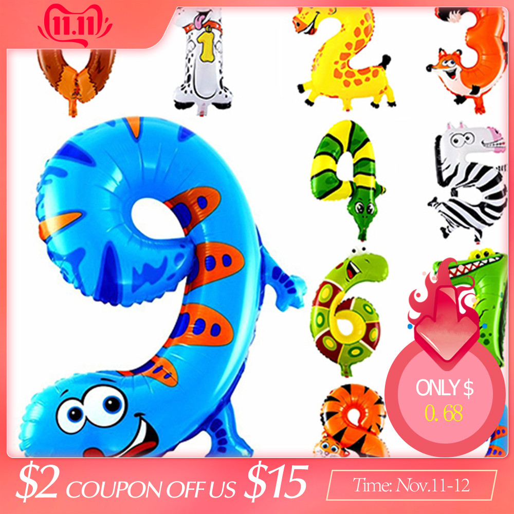 6 Inches Animal Cartoon Number Foil Balloons Party Hat Digit Air Ballons Birthday Party For Kids Toys