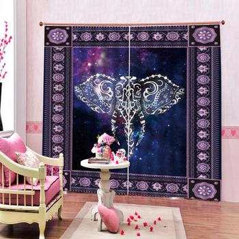 purple curtains elephant Customized size Luxury Blackout 3D Window Curtains For Living Room