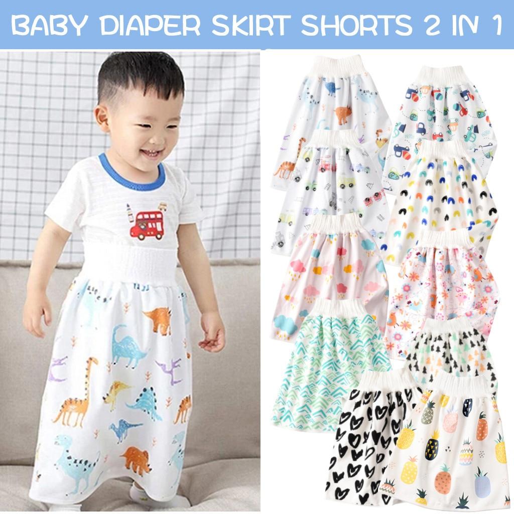 Удобная многоразовая юбка для детских подгузников, шорты 2 в 1, тренировочная юбка для мальчиков и девочек, многоразовая юбка для подгузнико...