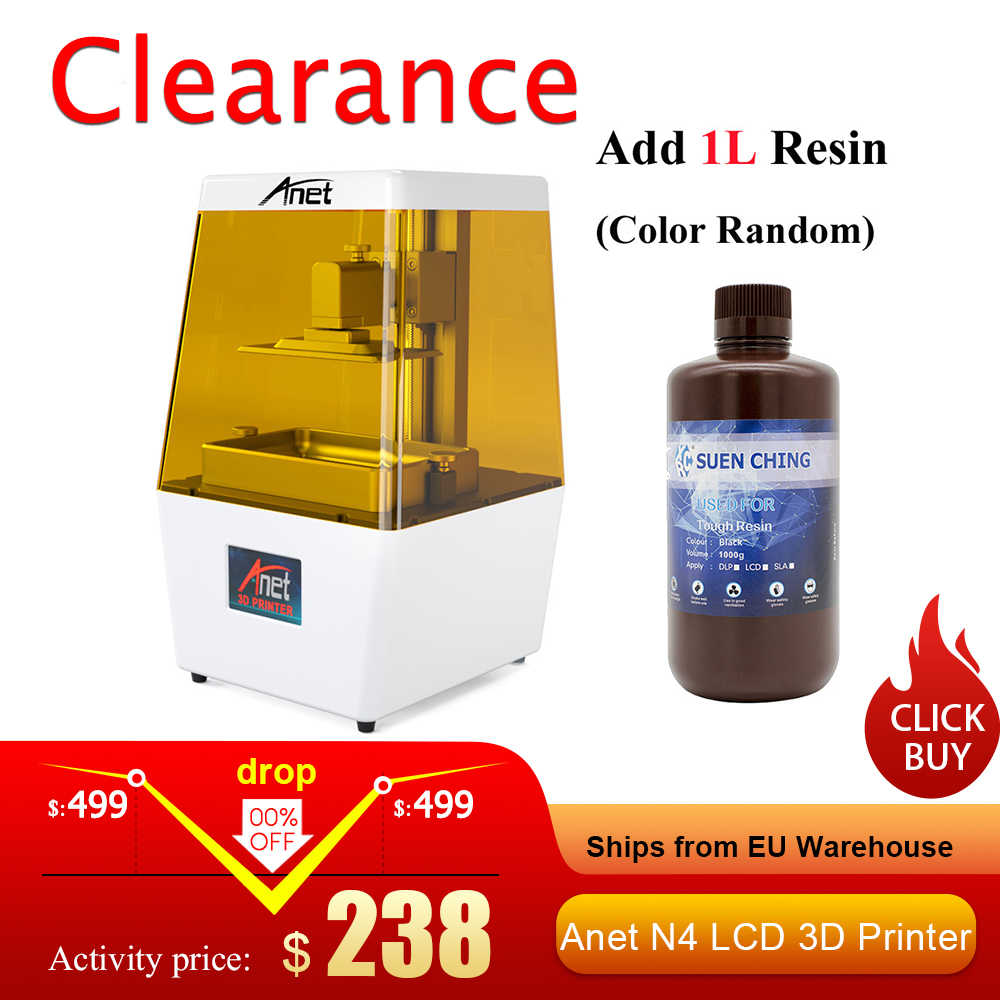 Anet N4 LCD impresora 3D máquina única panal de abeja que ahorra Material de impresión con 2K HD 3,5 pulgadas pantalla táctil de color inteligente