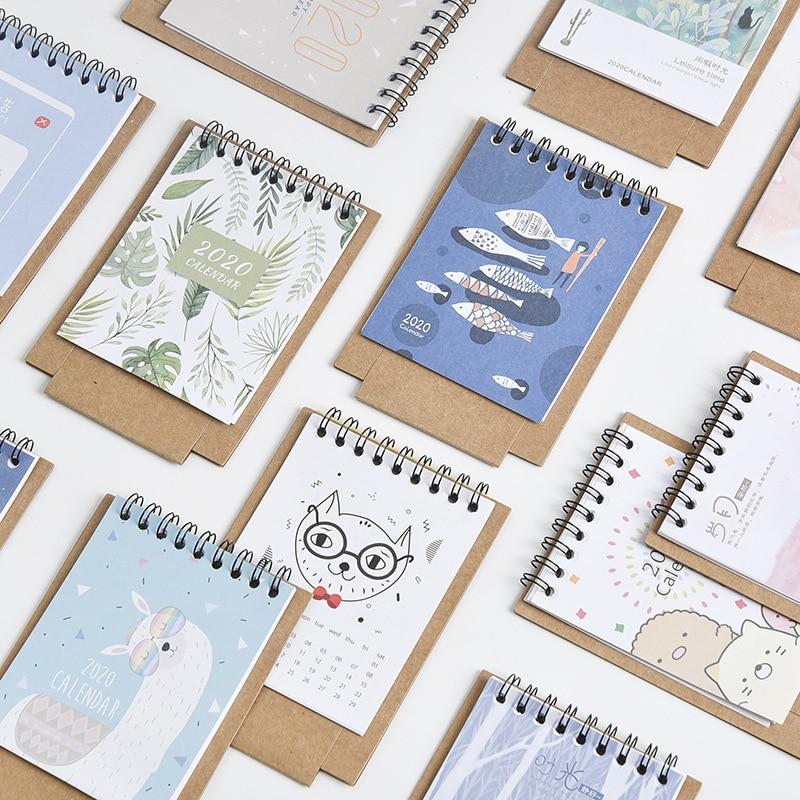 95x136mm Small Fish Monthly Agenda Desk Paper Cute Cartoon Animal Kawaii Calendar 2019 - 2020 Years Print Paper Calendar