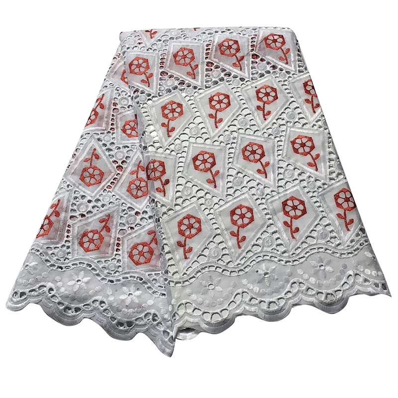 Latest White Color African Lace Fabric Hollow 2020 High Quality French Tulle Lace Swiss Lace Fabric For Woman Dresses 5 Yards