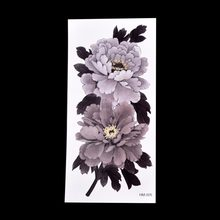temporary Waterproof China Peony Flower Temporary Tattoo Sticker Series Grey-White Tattoo Sticker Arm Leg Tatto Sticker(China)