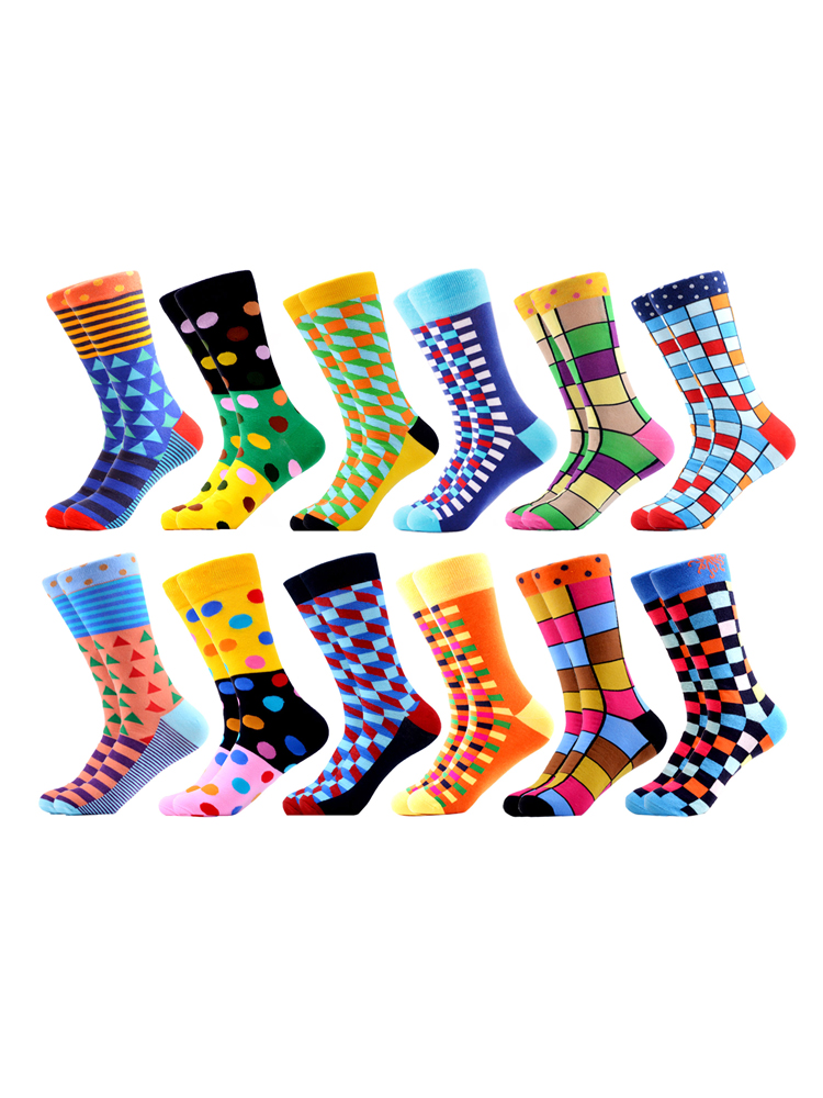 SANZETTI Men's Socks Combed Gifts Quality-Skateboard Happy Novelty Cotton High-Colorful