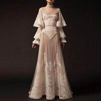 Saudi Arabian Formal Dress See Through Flare Sleeves A Line robe de soiree longue 2020 New vestido de festa longo Evening Gown
