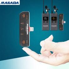 Mailada vloggo3l microfone sem fio com receptores de transmissor microfone lavalier para iphone 6 7 8 x xs xr max iphone 11