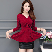 2019 Autumn Women Vintage Blouse Kimono Coat Boho Long sexy v neck Chinese Style solid red purple  Vogue Loose shirt Tops 200E3