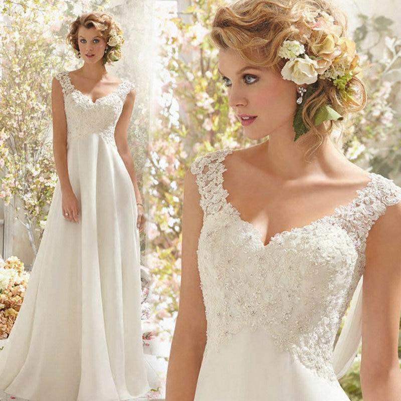 Beach Wedding Dresses White/Lvory Chiffon Lace Appliques Bridal Gown Backless Vestido De Noiva 1