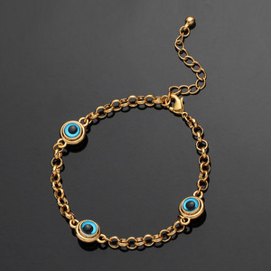 Image 5 - Blue Evil Eye Crystal Charm Allah Bracelets for Women Muslim Jewelry 3 Turkish Blue Eye Bracelet Gold Color Plated Never Faded