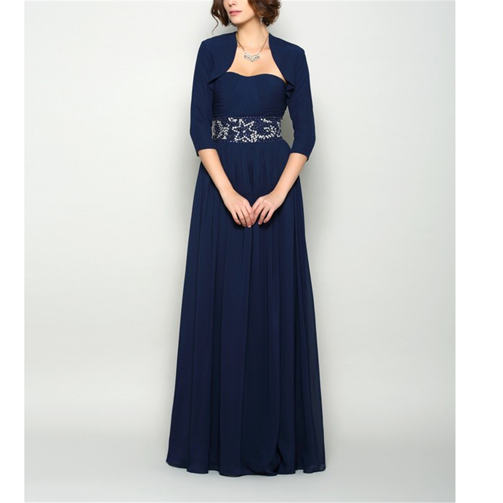 Excellent Navy Blue Chiffon Dinner Dresses For Women 2020 A-line Backless Beading Ruffles Full-Length Dinner Dresses With Jacket