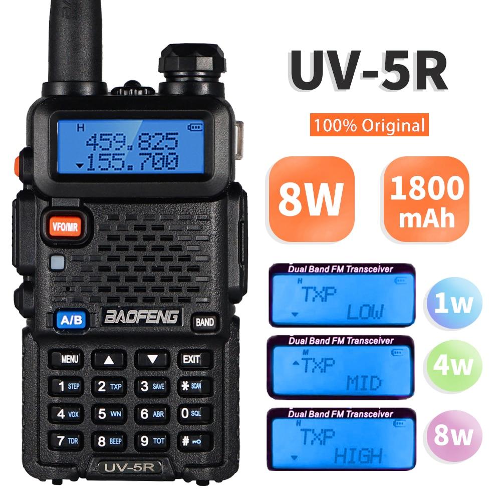 High Power 8W Baofeng UV-5R Walkie Talkie Dual Band Walkie FM Transceiver UV 5R Portable Two Way Radio UV5R Amateur Ham CB Radio