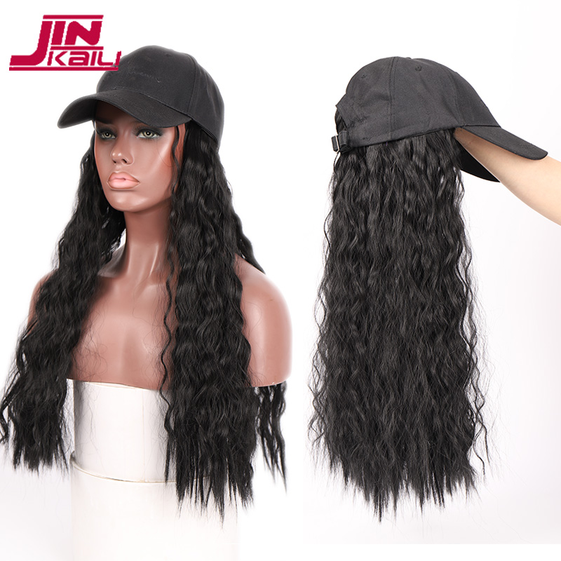 JINKAILI Long Kinky Curly Black Cap Wig All-in-one Female Baseball Hair Extensions Hat Hairpiece Synthetic Heat Resistant