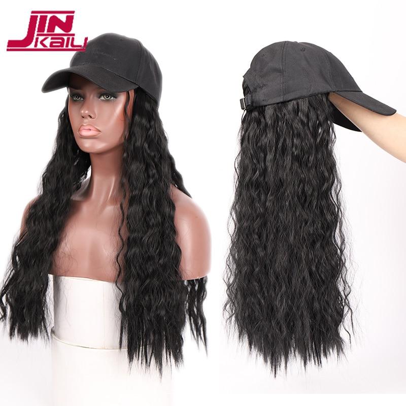 JINKAILI длинный кудрявый черный парик с капюшоном, все-в-одном, женские бейсболки, наращивание волос, шапка, синтетические термостойкие