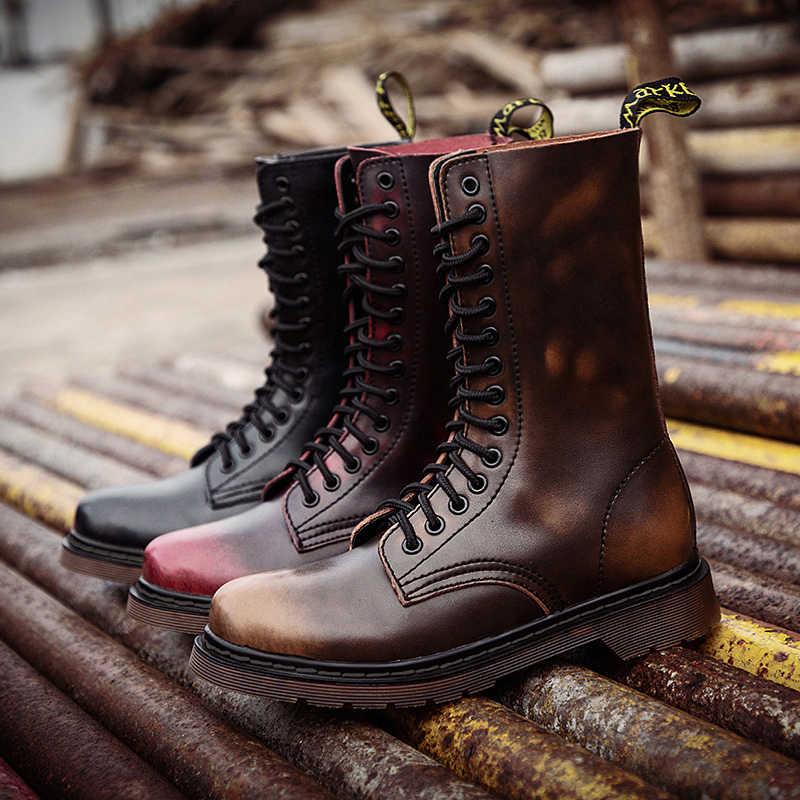 Cuir véritable femmes bottes chaussures d'hiver chaud fourrure moto bottes pour Martin bottes femmes mi-mollet bottes Couple grande taille 46