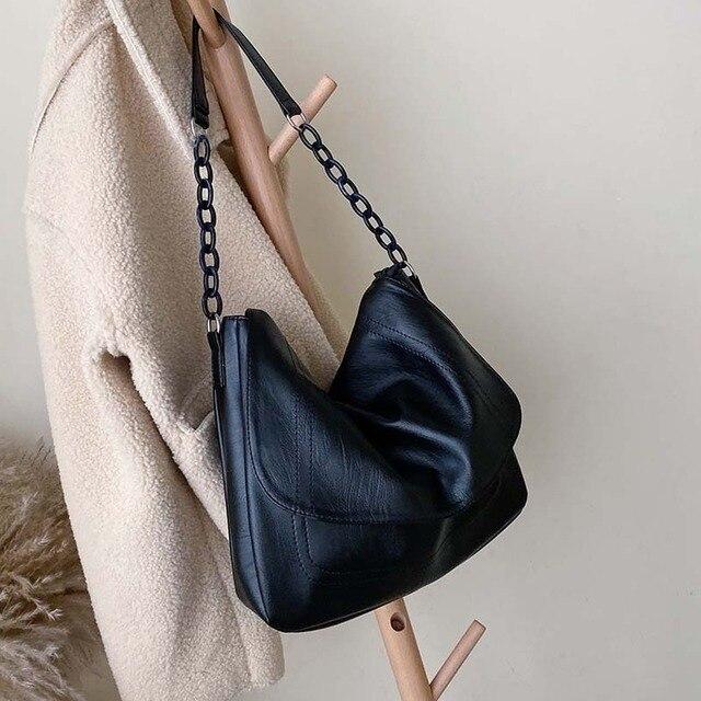 Bolsa feminina de couro sintético, corrente de ombro cor sólida, preta, de viagem, para mulheres, simples, elegante, 2019