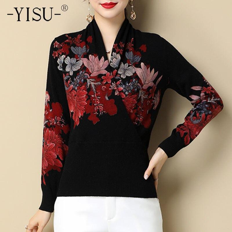 Женский зимний свитер YISU, зимние топы с принтом и V-образным вырезом, джемпер с длинным рукавом, теплый модный тонкий вязаный пуловер в стиле ...