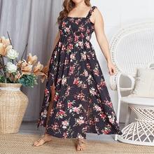 Casual Plus Size Floral Print Dress Women Sleeveless Dress Spaghetti Strap Vintage Maxi Dress Bohemian Summer Lady Sunress