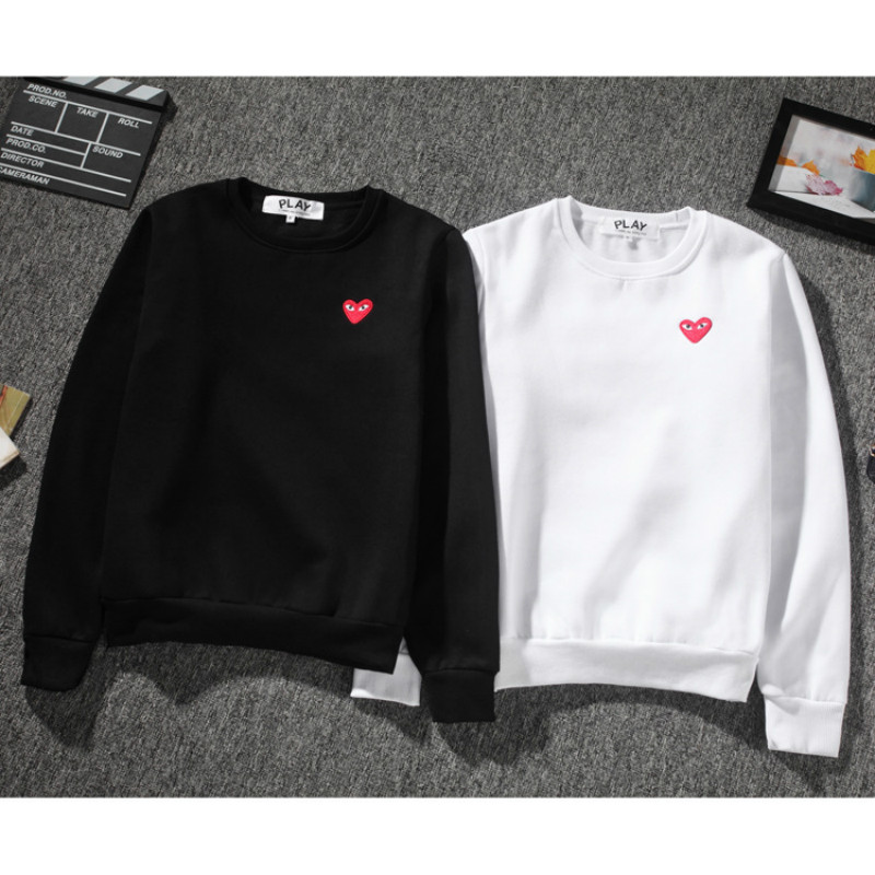 Women Hoodie Sweatshirt Red Love Heart Solid Color Cotton Casual Fashion Harajuku Fleece Tops Japan Couple Style Sweatshirts New