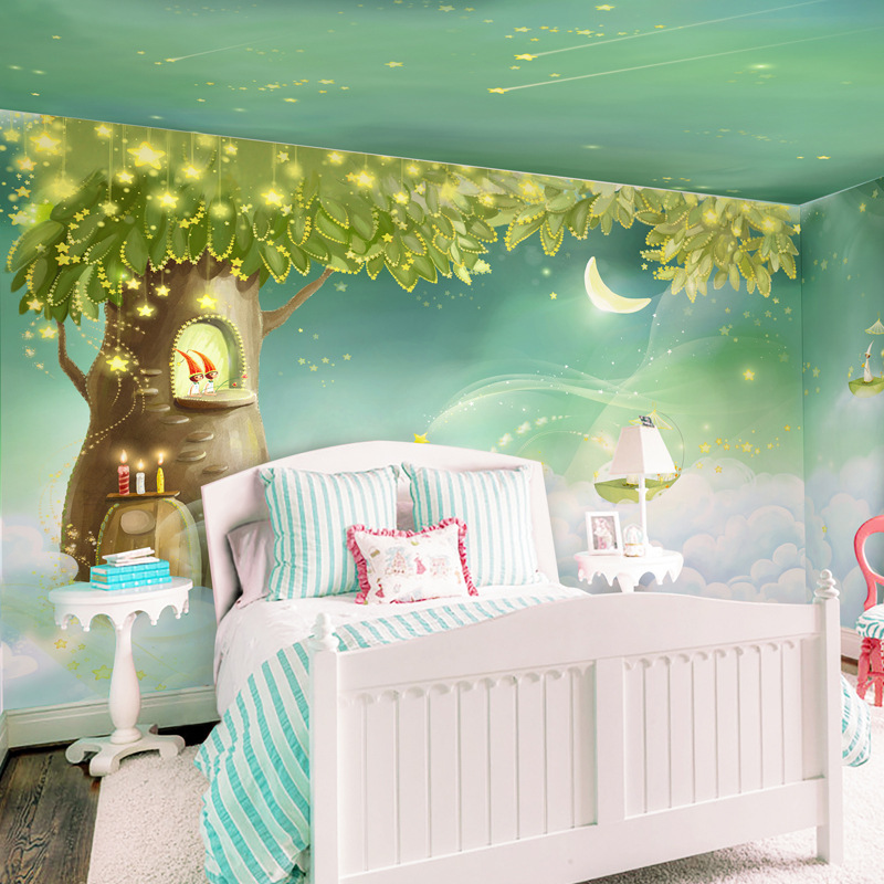5D Stereo Cartoon Animation Wallpaper Mural Warm Dreamy GIRL'S And BOY'S Children Bedroom Wall Wallpaper Nonwoven Fabric