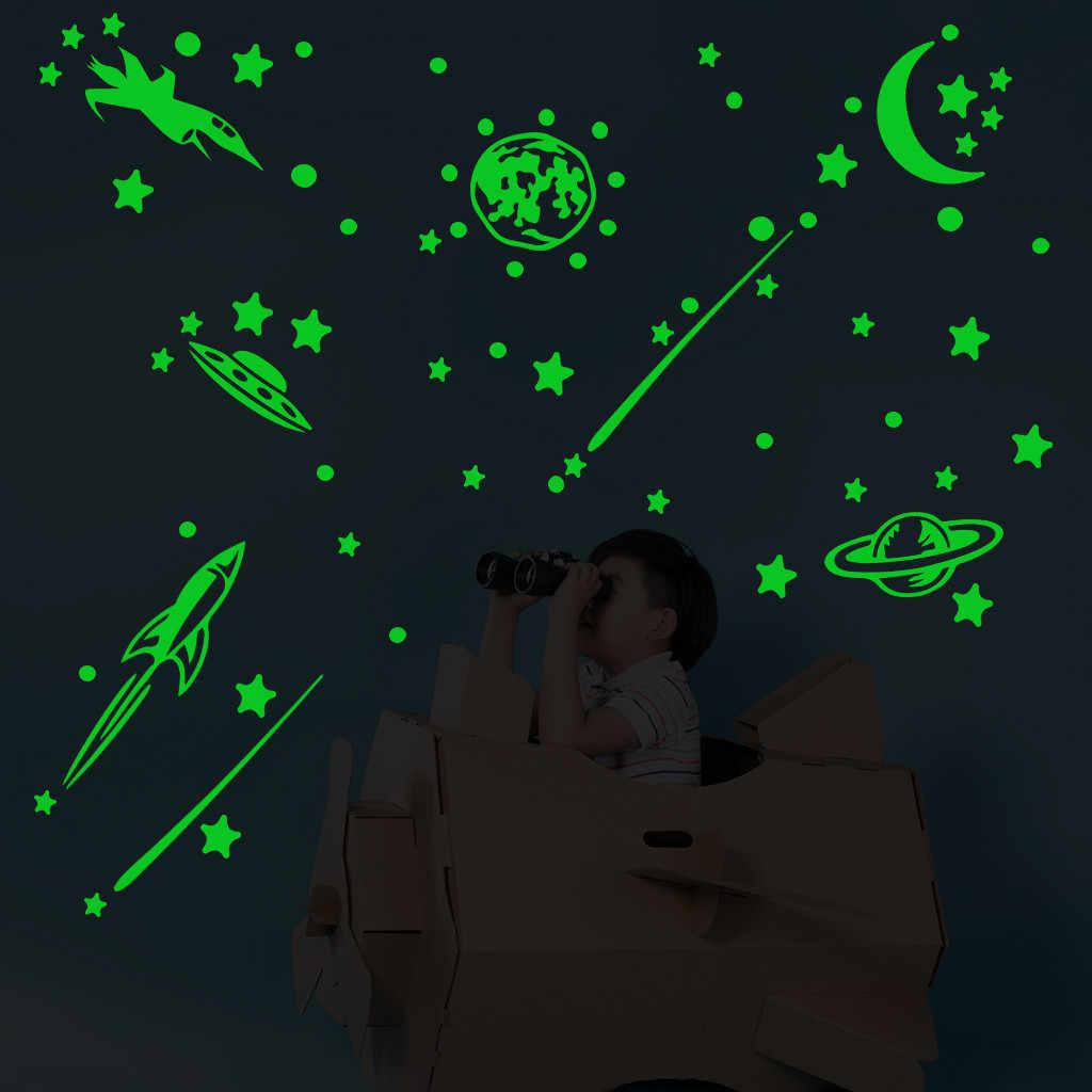 Luminous GLOW In The Dark ดาวดวงจันทร์ Rcket Decals ตกแต่งบ้าน PVC สติกเกอร์ทั้งหมดร้อน 3D สำหรับเด็กห้องนอนเพดาน