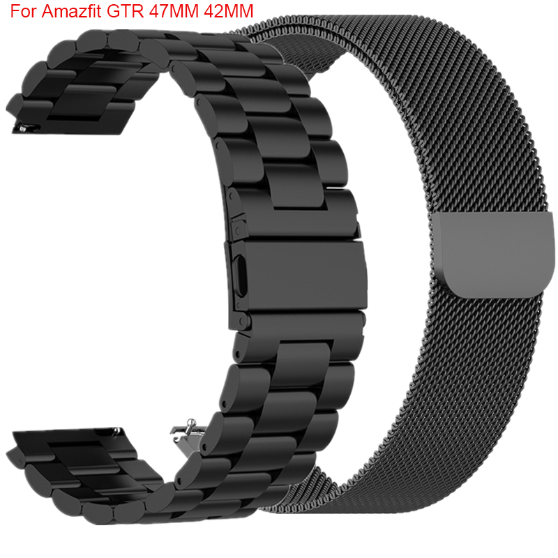 Metal Strap For Xiaomi Huami Amazfit GTR 47MM 42MM Smart Watch Band Stainless 20MM Wrist Straps For Amazfit Bip Youth Galaxy S3