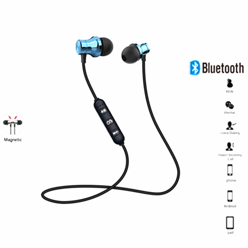 Wireless Bluetooth Earphone Stereo Headphones Sport Bluetooth Headset Earbuds Magnetic Earpiece With Mic For Iphone Xiaomi Bluetooth Earphones Headphones Aliexpress