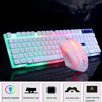 цена на Gaming Keyboard Mouse Set Mechanical Keyboard 104 Keycaps RGB LED Backlight Gaming Mouse Gamer Keyboard for LOL Pubg PC Gamer