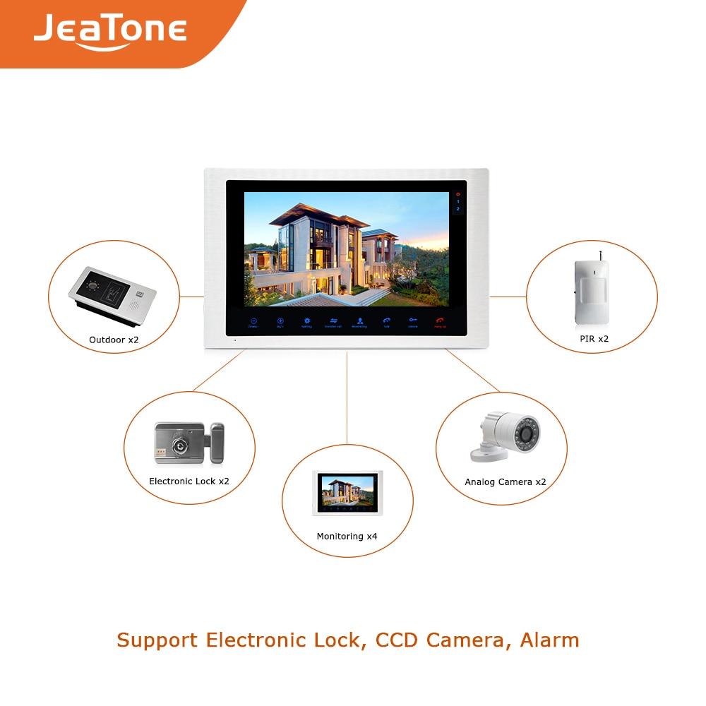 Купить с кэшбэком 10 inchVideo Door Phone Home Video Intercom 4-Wired Doorbell Monitor Intercom Waterproof Wide View Angle Call Panel + RFID Card