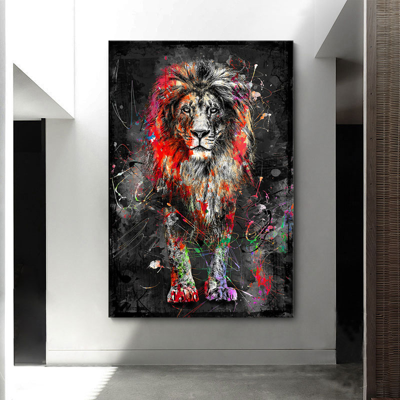 Abstract Colorful Lion Picture Posters And Prints Canvas Painting Animal Art Wall Interior For Home Decor Bedroom Decorations