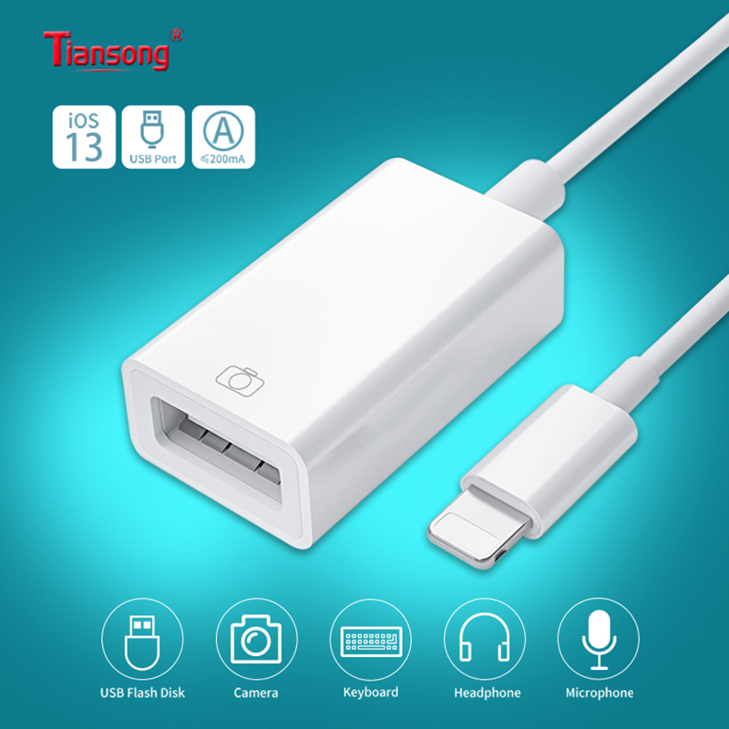 OTG IPhone Aux Adapter 8 Pin/Lighting To USB Cable Converter  For IPhone 7 8 11 Pro To Connect Electric Piano MIDI Support IOS13