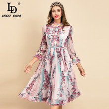 LD LINDA DELLA New 2021 Women Summer Fashion Runway A-Line Dress Flare Sleeve Bow sash Ruffles abito Midi da donna con stampa floreale