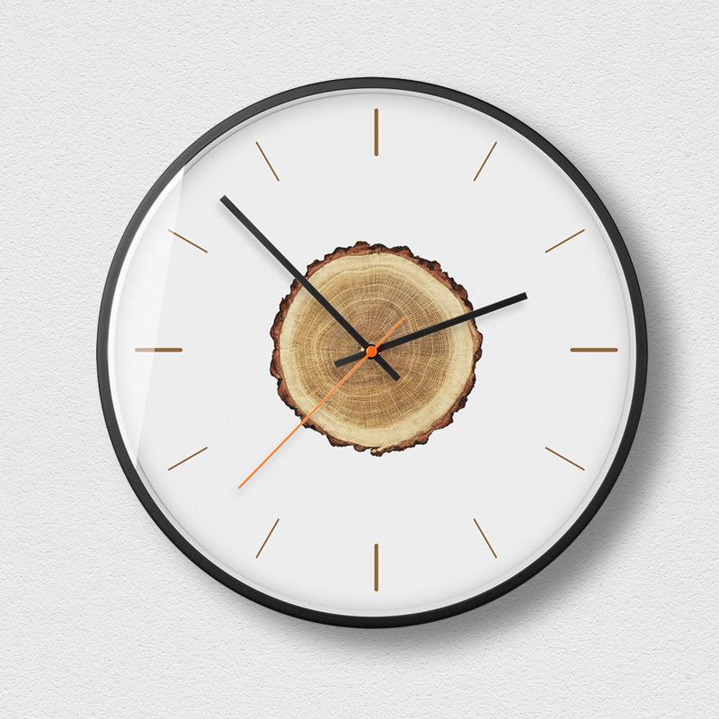 Horloge murale moderne minimaliste en bois silencieux salon créatif montres à Quartz accessoires de décoration de chambre horloges murales rondes - 6