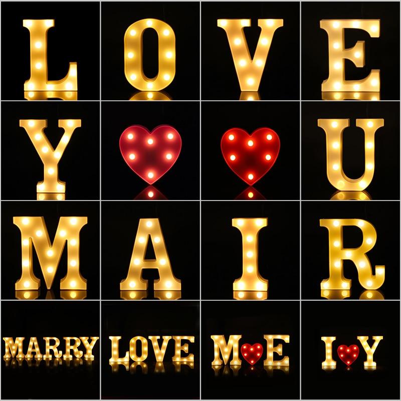 16/21CM LED Letter Lights cuore lettera simbolo segno luce notturna per natale san valentino festa di nozze scrivania decorazione domestica