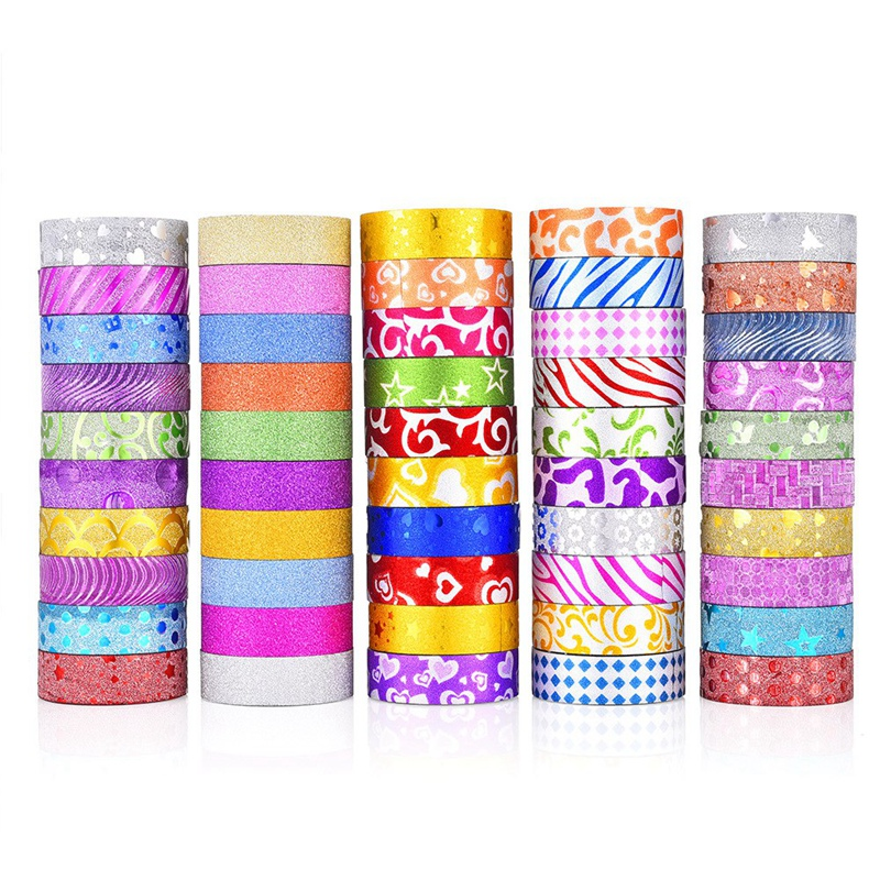 50 Rolls Glitter Washi Tape Set, Decorative Adhesive Masking Tape for Crafts, Scrapbooking Supplies, DIY, Gift Wrapping