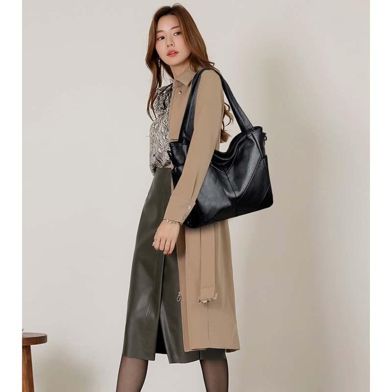 Bolsa feminina de couro macio bolsas de