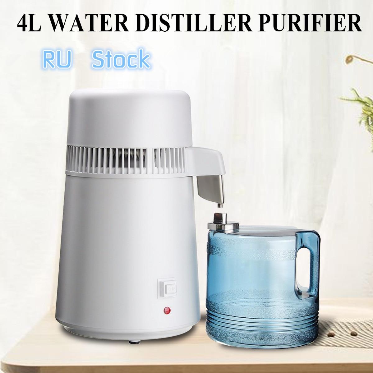 110 V/220 V 750W 4L eau Pure distillateur eau purificateur conteneur acier inoxydable filtre à eau dispositif ménage eau distillée