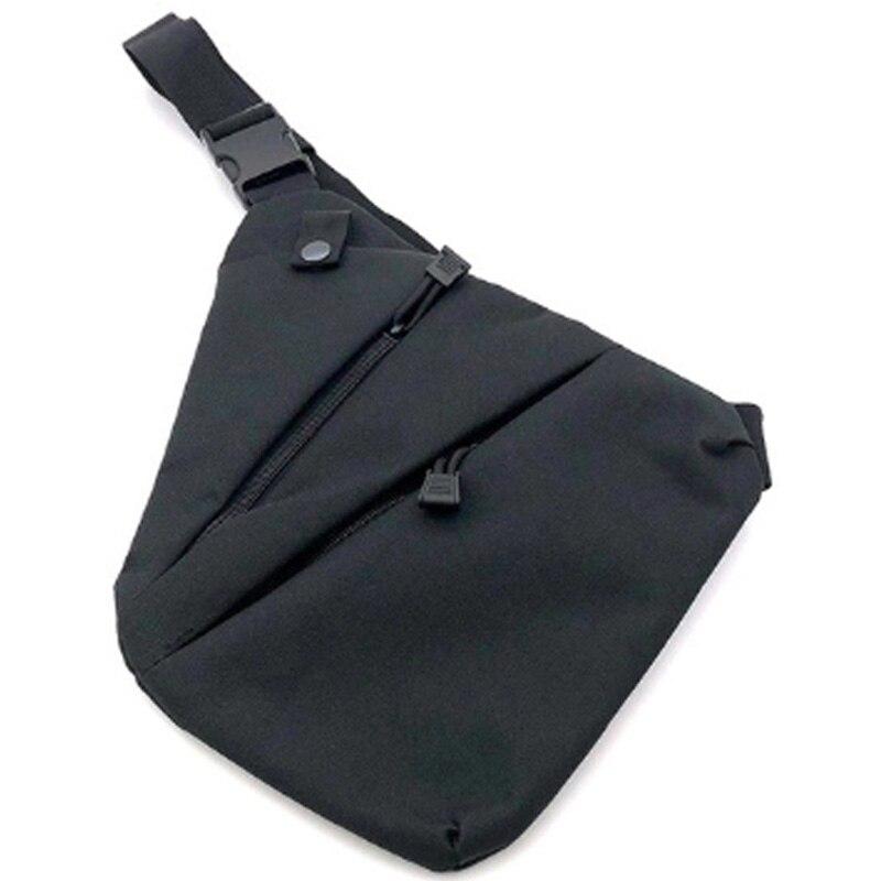 Multifunctional Concealed T Storage Bag Men'S Left Right Nylon Shoulder Bag Anti-Theft Bag Chest Bag Hunting Black Left