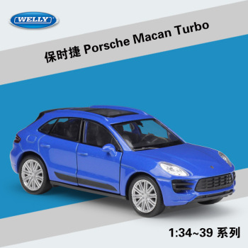 Welly 1:36 Porsche Macan Turbo SVU alloy car model pull-back vehicle Collect gifts Non-remote control type transport toy image