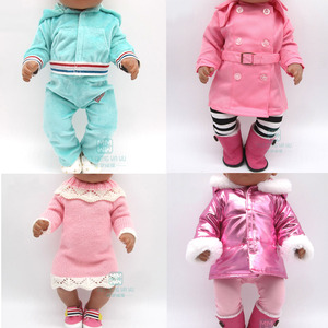 Clothes for doll fit 43cm toy new born doll and American doll accessories fur collar coat + baby tights(China)