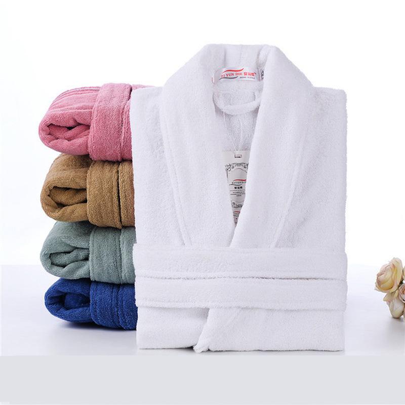 100% Cotton Toweling Terry Robe Unisex lovers Soft Bath Robe Men And Women Nightrobe Sleepwear Male Casual Home Bathrobe