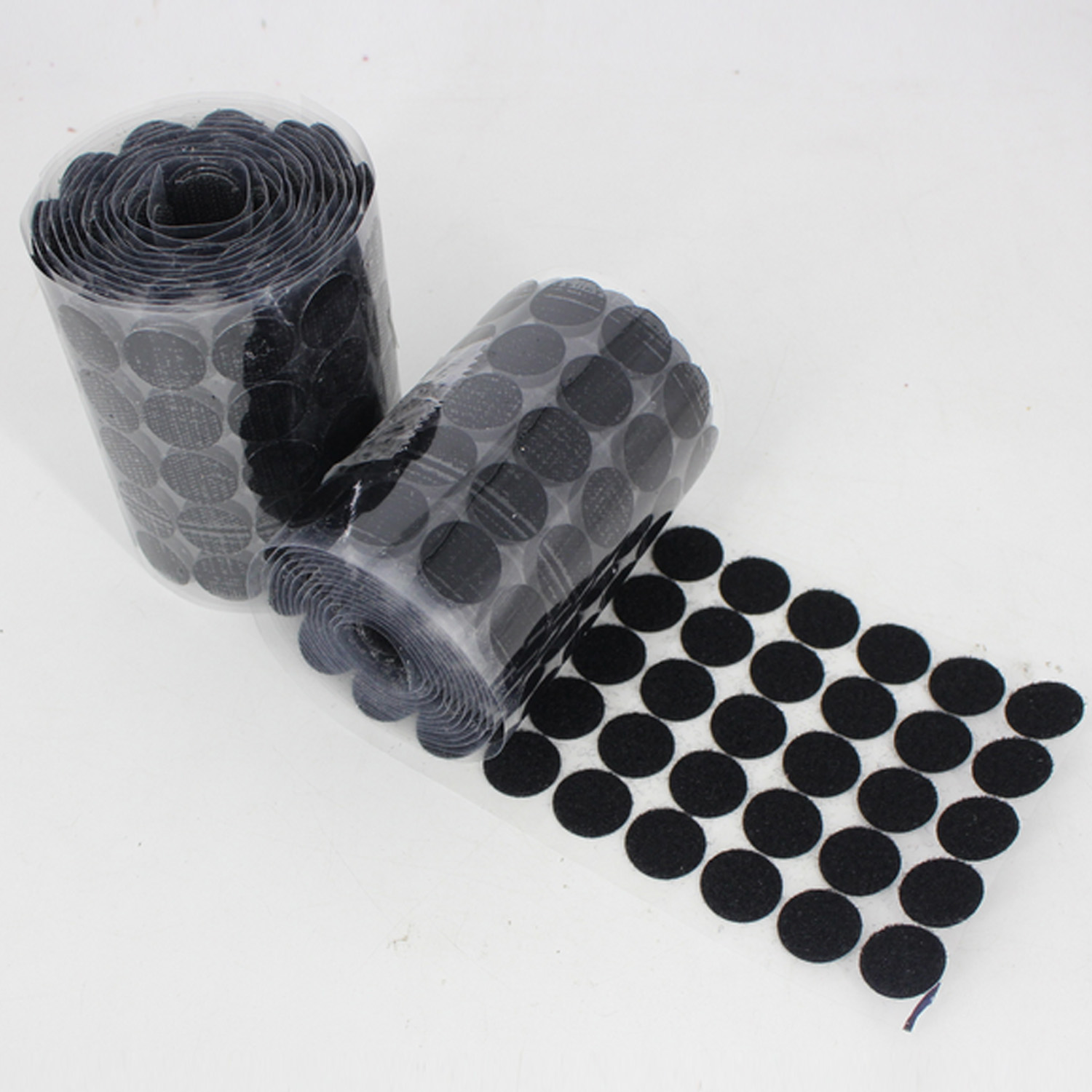 100 Pairs 20mm Black Nylon Fabric Sticky Back Round Coins Hook And Loop Self Adhesive Fastener Dots Tapes Hook Loop Tape