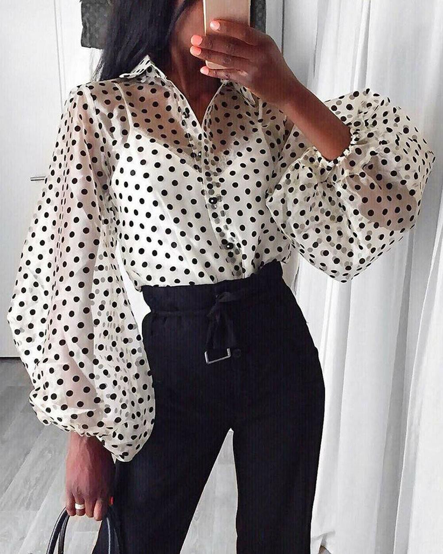 Fashion Womens Summer Mesh Shirt See-through Polka Dot Long Sleeve Casual Shirts Top Black Lace Sheer Loose Blouse Tops Black
