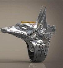 Retro aço inoxidável lobo cabeça retro deus moda de alta qualidade antigo anubis conjunto anel anel festa aniversário jóias
