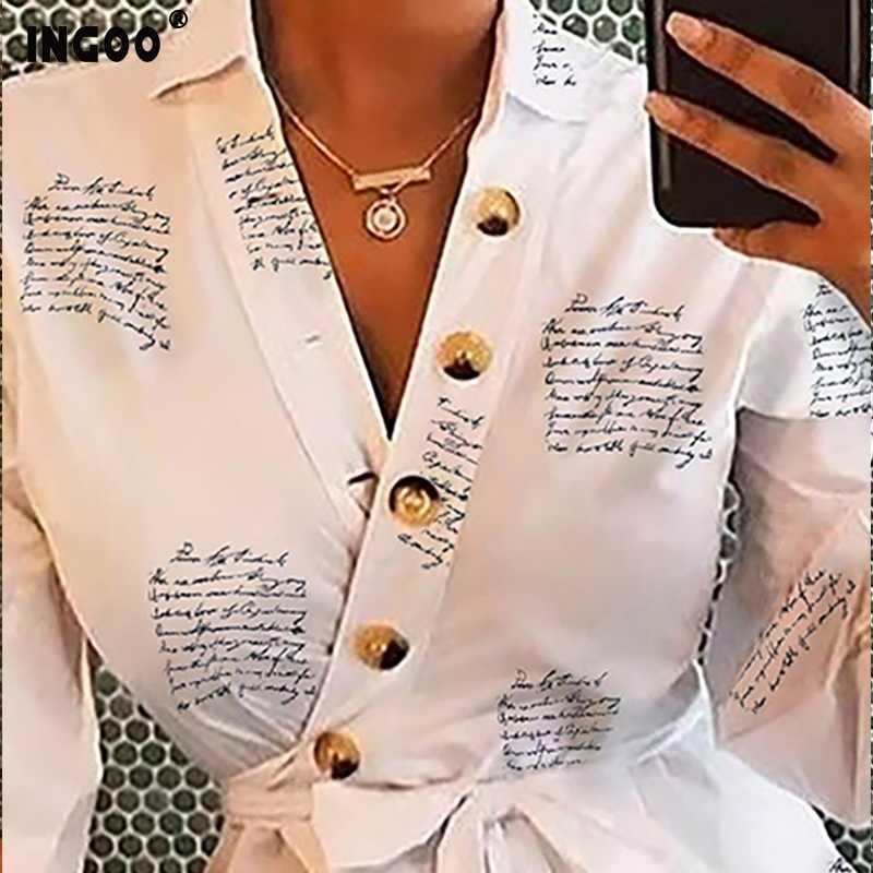 INGOO الربيع طويلة نفخة الأكمام المرأة قميص الخامس الرقبة زر الإناث بلوزة الدانتيل يصل غير النظامية أسفل إلكتروني طباعة قمصان مكتب سيدة