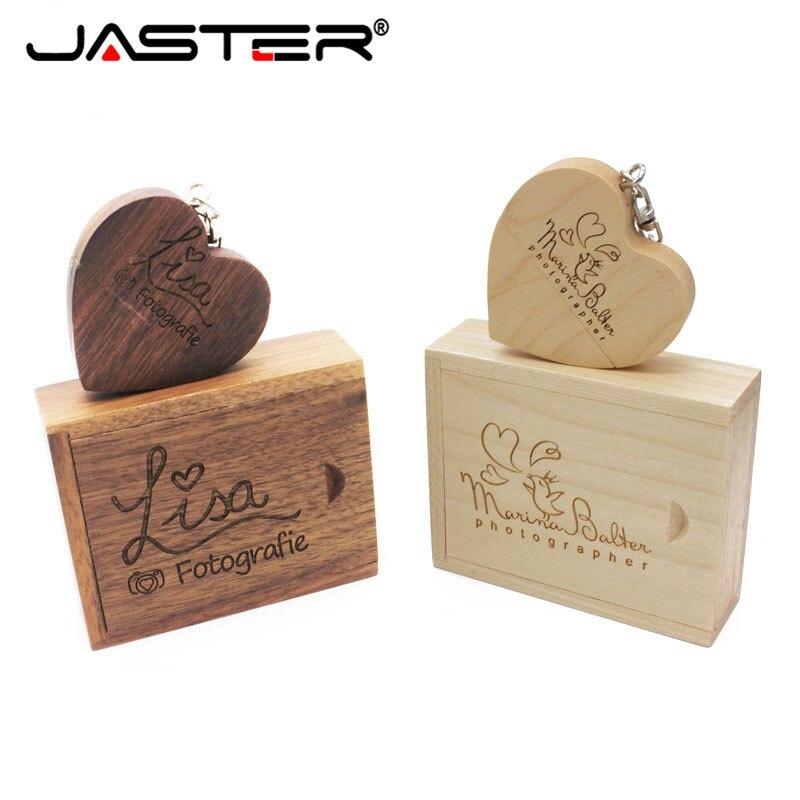 JASTER Promotion Wooden 10 PCS Free Logo Heart Shape USB+BOX Real Capacity USB 2.0 4GB/8GB/16GB/32GB/64GB USB Flash Drive