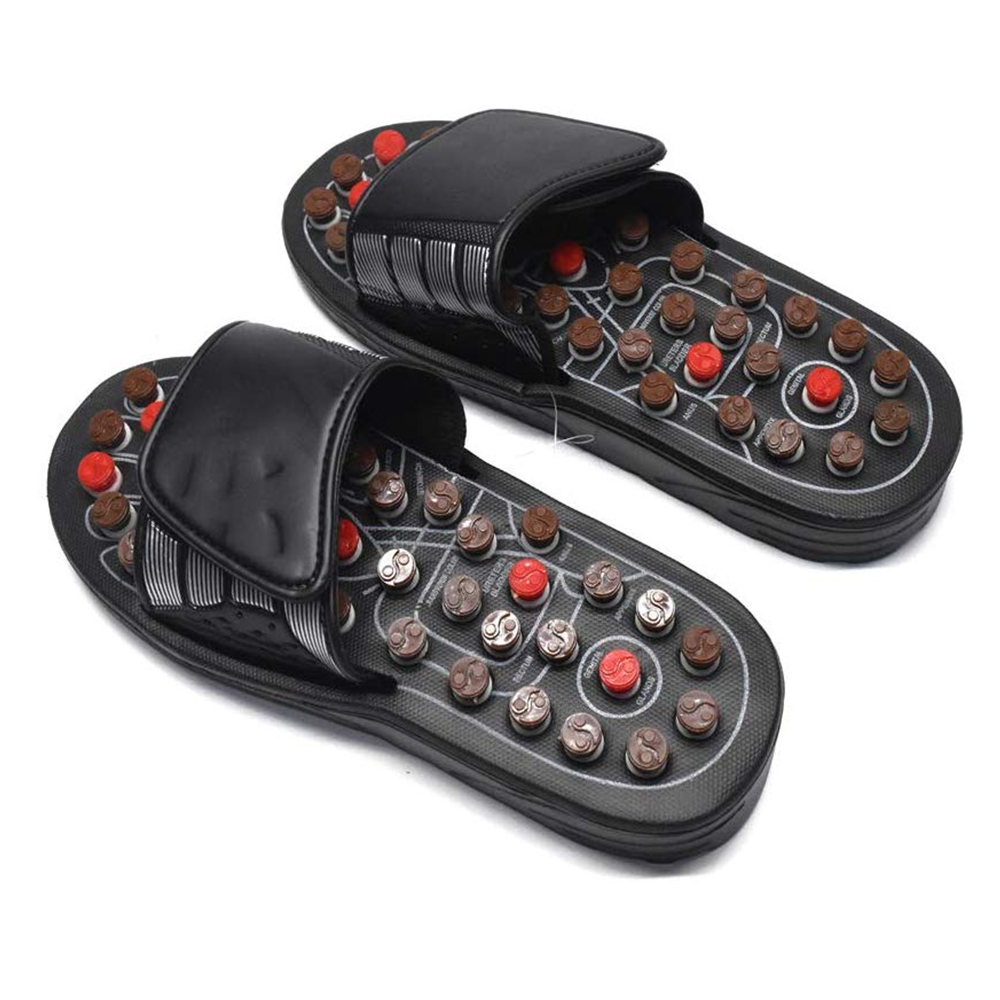 Acupoint Foot Massage Slippers Sandals Feet Acupressure Therapy Activating Reflexology Health Care For Men Women Black 4